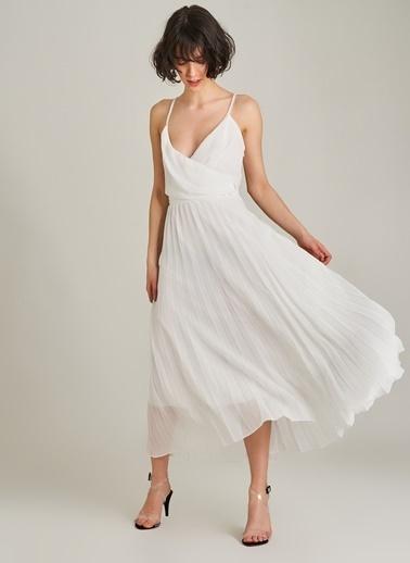 Agenda Askılı Piliseli Elbise Beyaz